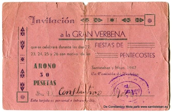"""Abono-Invitación a la """"Gran Verbena"""" de las Fiestas de Pentecostés del año 1947. Está a nombre de Constantino Mota Mallenco y se celebraba en el Jardín, como sucede en la actualidad."""