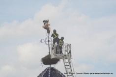 Rescate de la cigüeña enganchada en el pararrayos