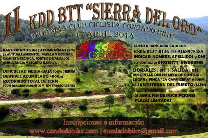 Cartel Segunda Quedada Mountain Bike Sierra del Oro