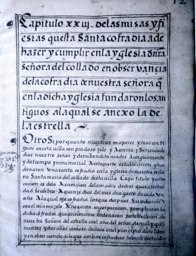 Ordenanzas de la Cofradía de la Virgen del Collado a la cual se anexó la de La Estrella