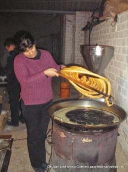 Preparando los churros