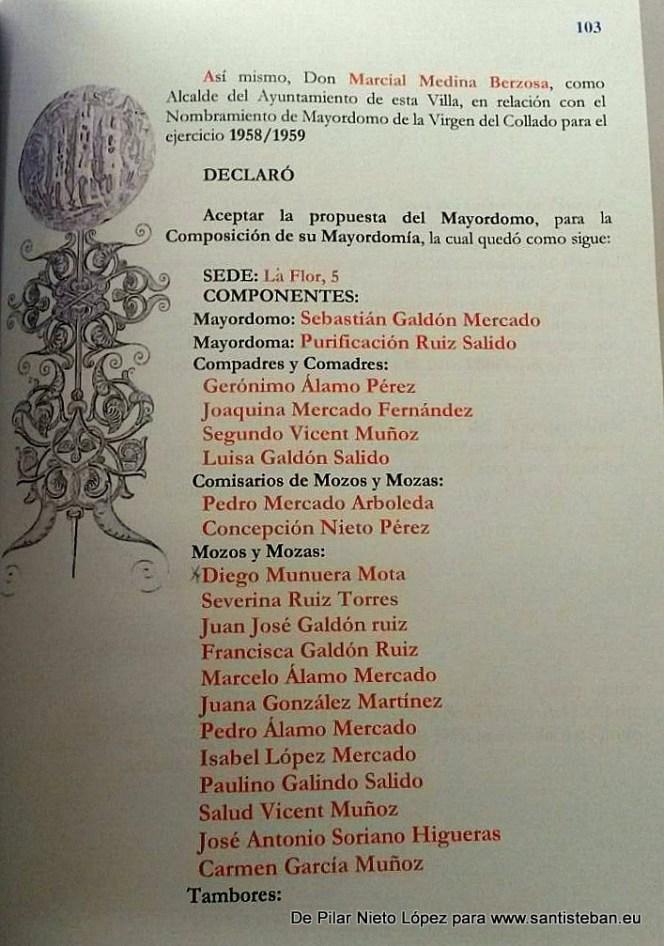 Página del registro de Mayordomías correspondiente a 1958/1959. Se aprecian los nombres de los componentes.