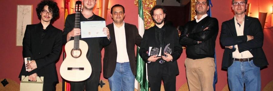 De izquierda a derecha: Alí Arango, Ivan Petricevic, Enrique Muñoz, Pietro Locatto, Javier López y Juan Diego Requena. XV Concurso Internacional de Guitarra Clásica Comarca El Condado.