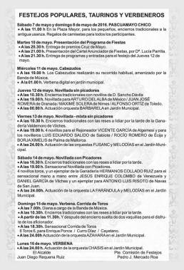 Festejos Populares, Taurinos y Verbeneros Pascuamayo 2016