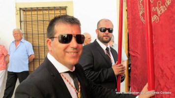 Compadre y Mayordomo durante la procesión