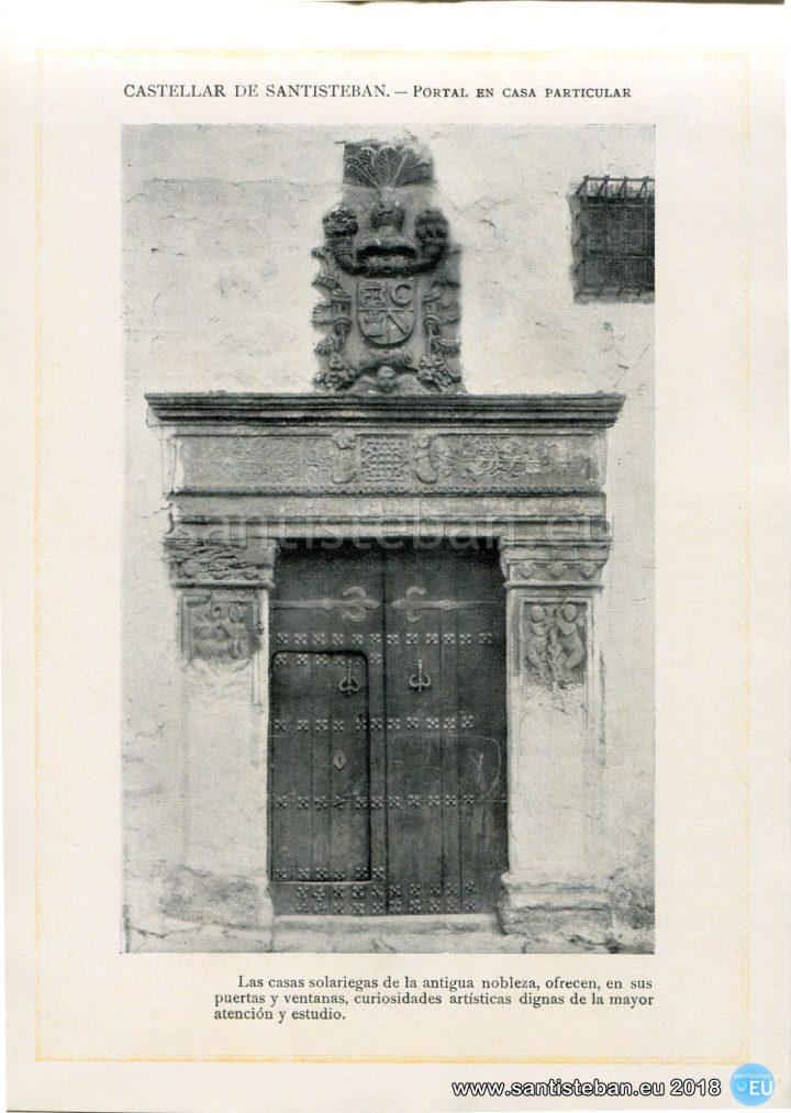 CASTELLAR DE SANTISTEBAN.- Portal en casa particular.