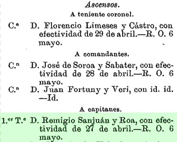 Ascenso a capitán de D. Remigio Sanjuán y Roa. Memorial de Ingenieros.