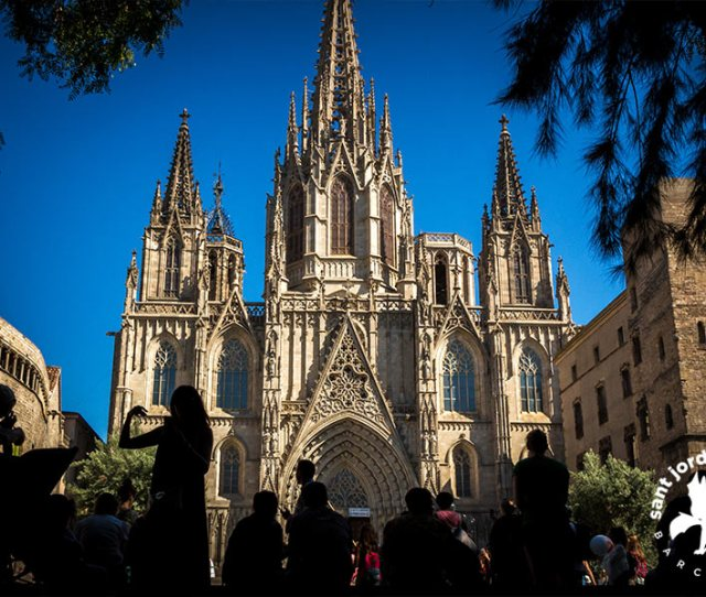 Barcelona Gothic Quarter The Cathedral Front