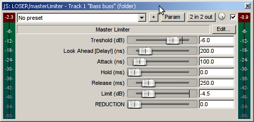 masterLimiter settings - finalizing the process