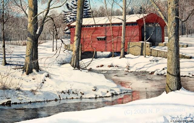 """Bartram Bridge"" Watercolor Paintings by Santoleri"