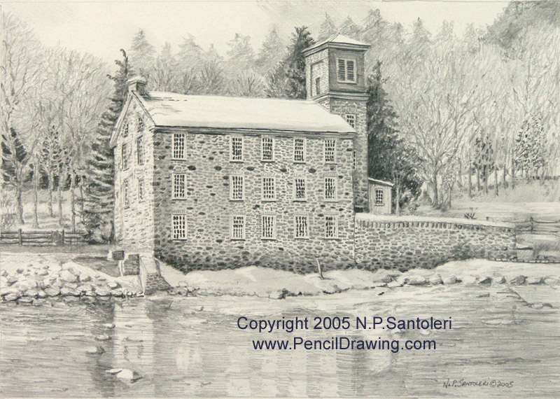 Brecks mill pencil study by nick santoleri