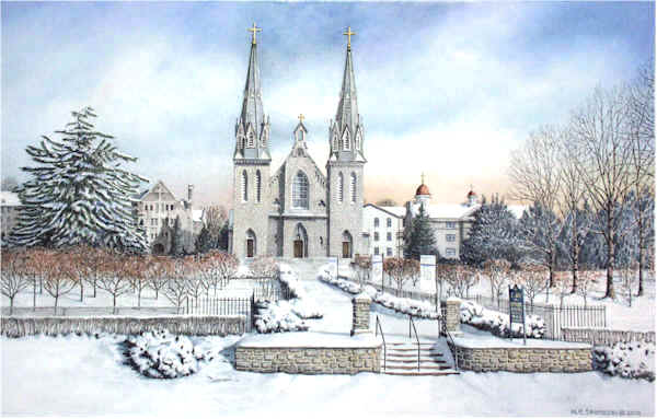 The Church at Villanova University by Santoleri limited edition prints from watercolor painting