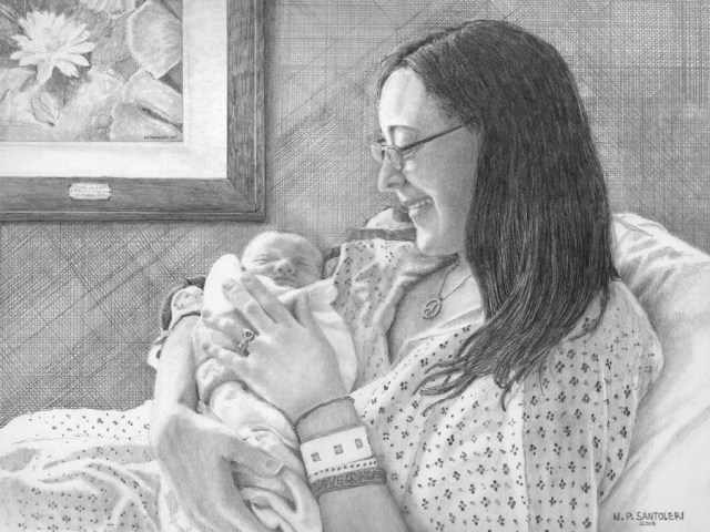 Frances and Fiona Finished Pencil Drawing by Santoleri