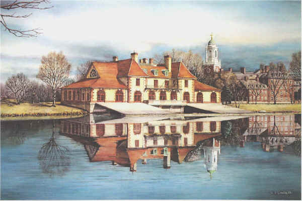 Harvards boathouse Santoleri limited Edition Print from Watercolor Painting