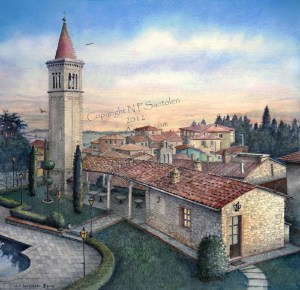 South Tuscany Sunrise Watercolor Paintings by N. Santoleri