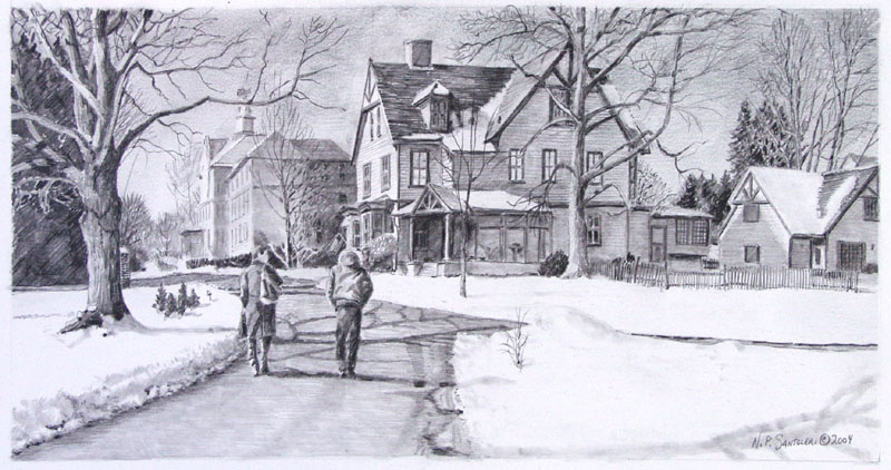 Winter walk to class pencil sketch by nick santoleri