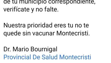 Photo of Salud Pública en Montecristi próximo lunes  vacunará a personas de 18 años