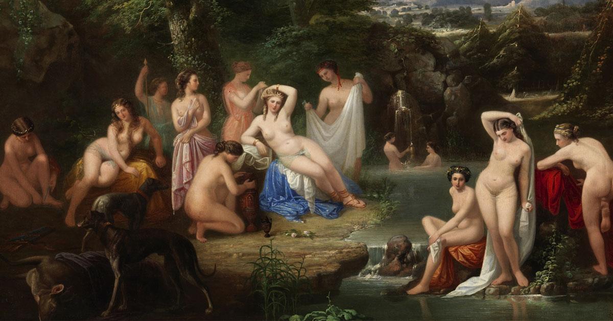 Detalle de Diana en el Baño de Francisco Reigón (1858)