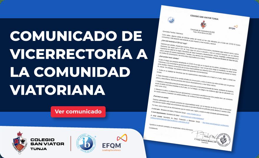 Comunicado de Vicerrectoría para la comunidad Viatoriana