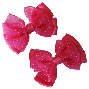 pink hair clips with bow