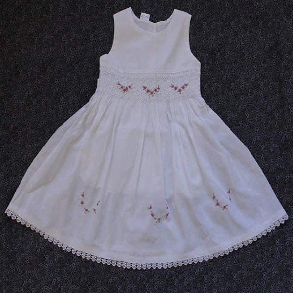 Smocked dress white sleevess
