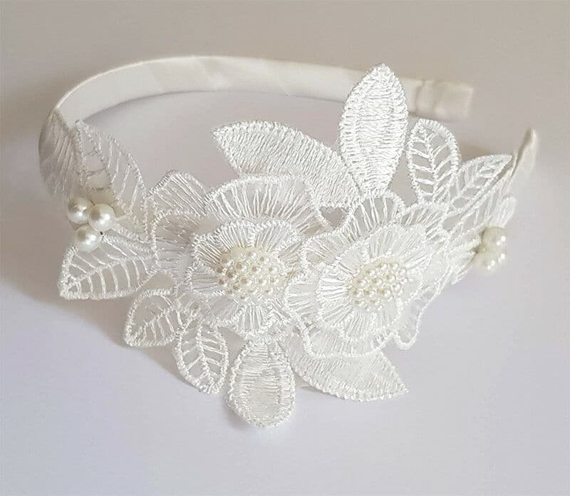 Bridal Headband with Sugar white Pearl embellishment
