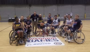 O'Keefe with the silver-medal winning U.S. Navy Basketball Team.