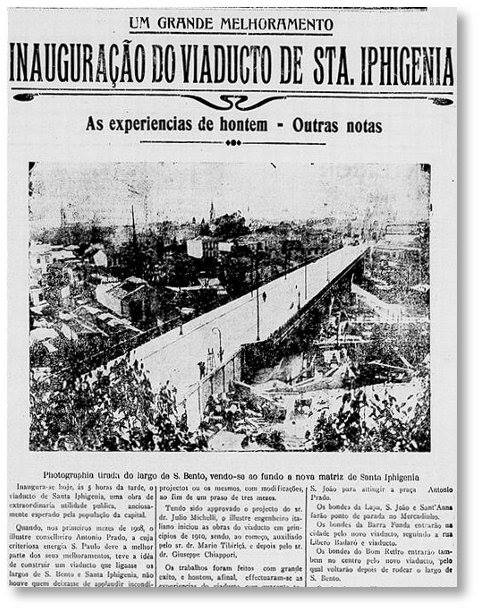 Página que mostra a inauguração do Viaduto Santa Ifigênia