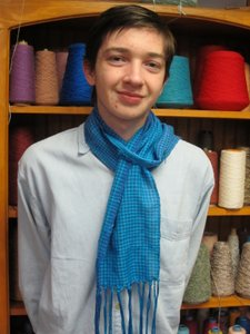 Lonnie with his hounds tooth scarf close