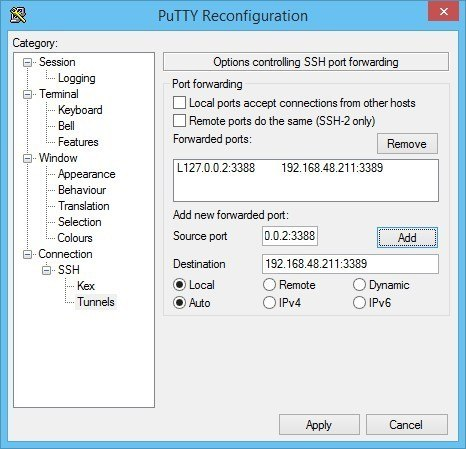 SSH port forwarding in PuTTY