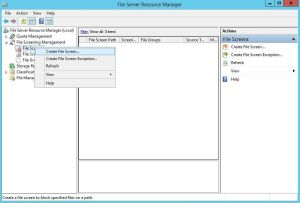 Create an FSRM File Screen