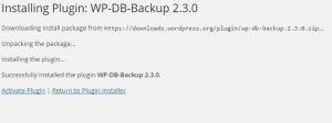 Installing Plugin WP-DB-Backup 2.3.0
