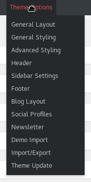 The WordPress Theme Options in Admin top menu