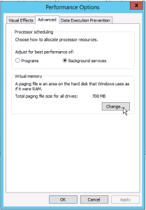 click advanced in Windows Server Performance Options to change pagfile settings