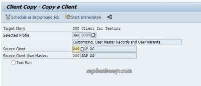 Profile for SAP Local Client Copy