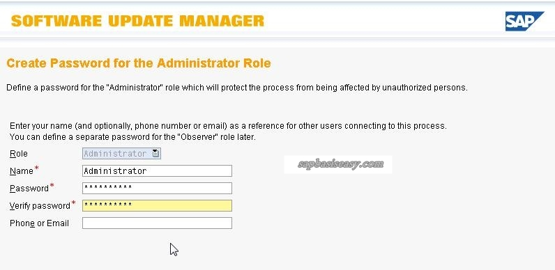 Initial user for SAP Software Update Manager (SUM)
