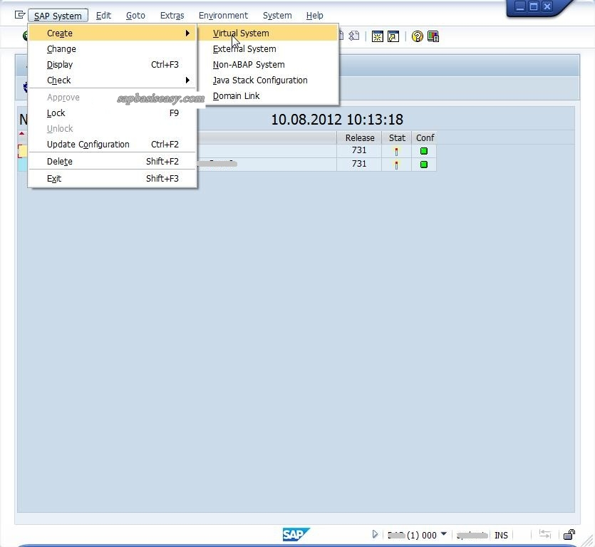 Create SAP Virtual System in STMS