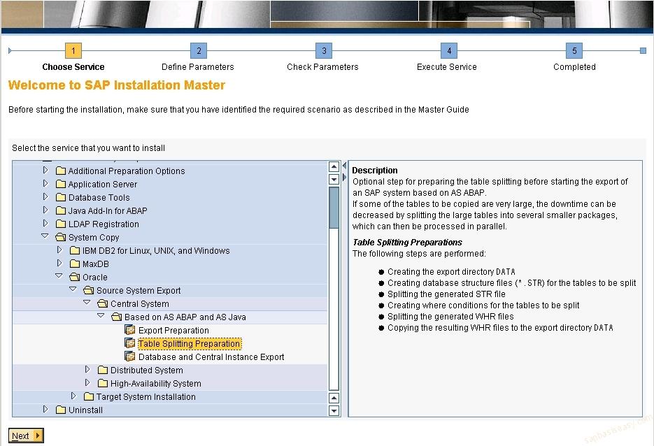 SAP Table Splitting on Database Export - SAP Basis Easy