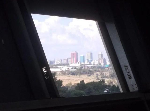 Skyline through panel 2