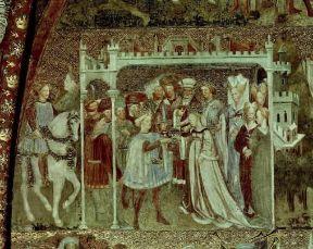 Italia . Autari chiede in sposa Teodolinda, dal ciclo di affreschi sulla vita della regina longobarda realizzato nel 1444 dagli Zavattari, nella Cappella di Teodolinda del duomo di Monza.De Agostini Picture Library