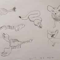 Il disegno di un bambino con alcuni animali del Sahara