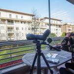 Mario Monfrini e fa birdwatching dal balcone di casa a Saronno (Va)