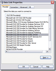 Data Link Properties Provider pane