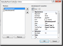 StatusBarPanel Collection Editor