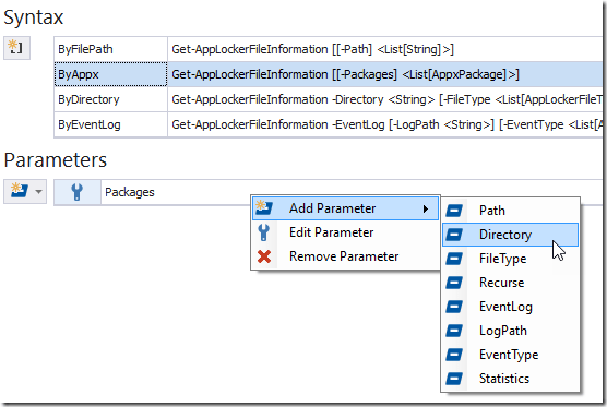 Context Menu - Add Existing Parameter