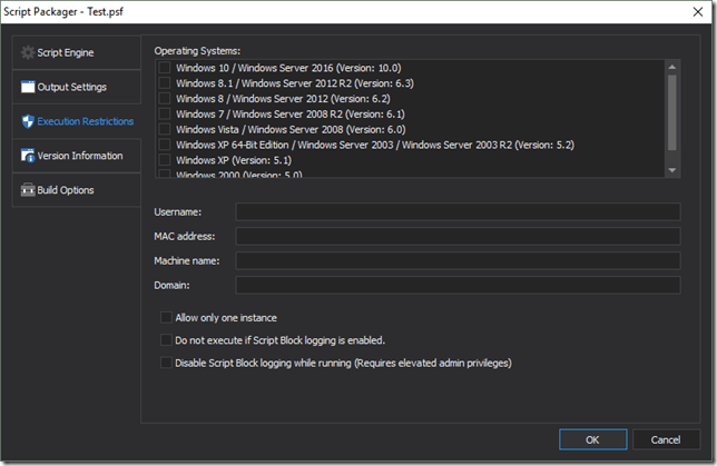 Script Packager Script Block Restriction