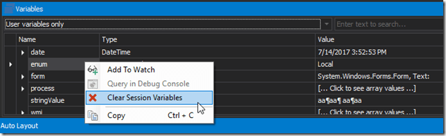 Variable Pane - Clear Session Variables