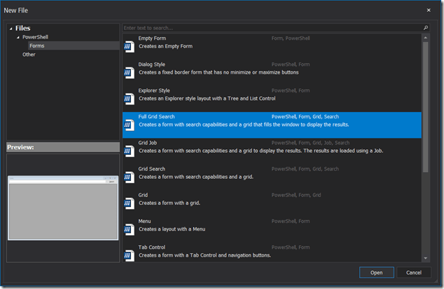 New File Dialog