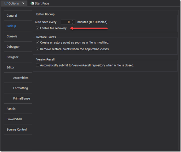 Options - Enable File Recovery