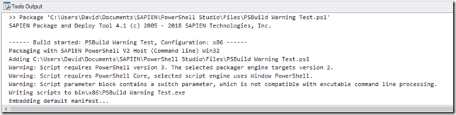 PSBuild Warnings